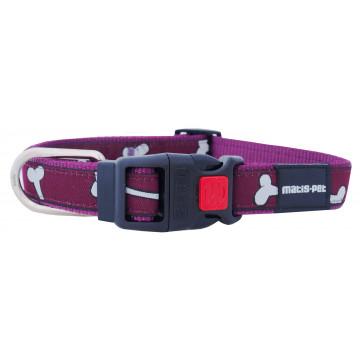 Ошейник для собак MATIS-PET 2,0 см MD фиолетовый,косточки (Матис Пет)