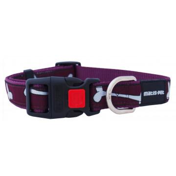 Ошейник для собак MATIS-PET 1,5 см MD фиолетовый, косточки (Матис Пет)