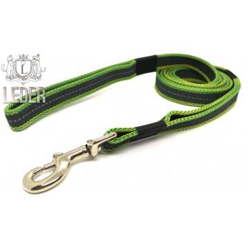 Поводок для собак нейлон с латексом Жёлто-зелёный 20мм 1-10 м (прорезиненный)