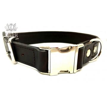 Ошейник для собак кожа с металлической пряжкой ONEGA коричневый 30мм*60см