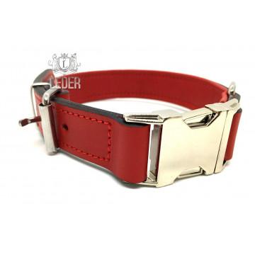Ошейник для собак кожа с металлической пряжкой ONEGA красный 25мм*45см