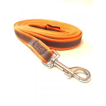Поводок для собак нейлон с латексом Onega 20мм*1,5*2*3*5м Оранжевый (прорезиненный)