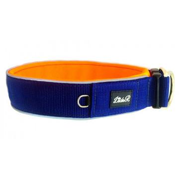 Ошейник для собак с неопреновой подкладкой 4,5см Синий на оранжевом