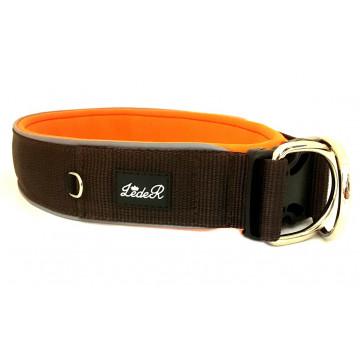 Ошейник для собак с неопреновой подкладкой 4,5см Шоколадный на оранжевом