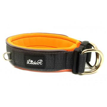 Ошейник для собак с неопреновой подкладкой 3,5см Серый на оранжевом