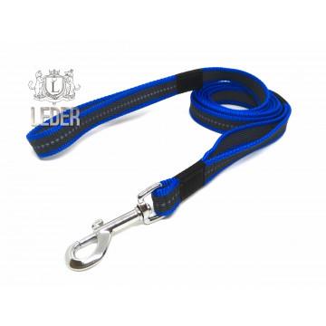 Поводок для собак нейлон с латексом Синий 20мм 1-10 м (прорезиненный)