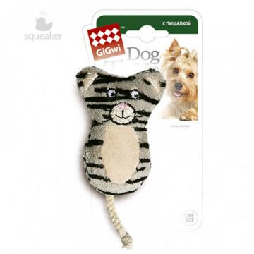Игрушка для собак ГиГви Кот с Пищалкой без набивки 13 см