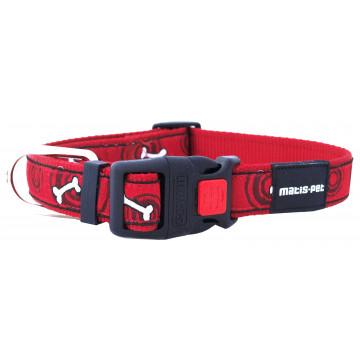 Ошейник для собак MATIS-PET ширина-2,0см Красный, косточка (Матис Пет)