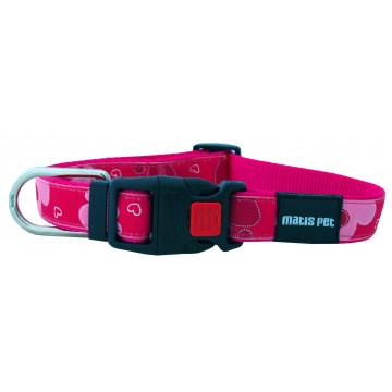 Ошейник для собак MATIS-PET ширина-2,0см Розовый, сердечки (Матис Пет)