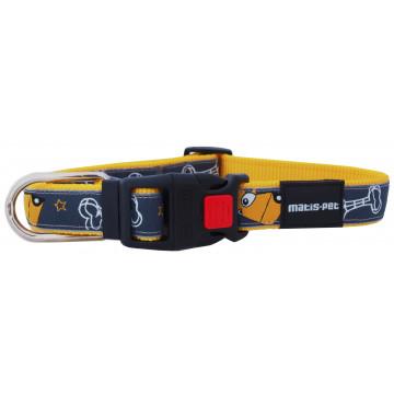 Ошейник для собак MATIS-PET ширина-2,0см Жёлтый,собачки (Матис Пет)