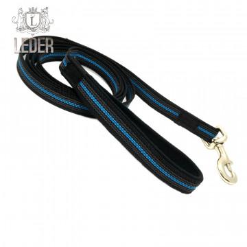 Поводок для собак нейлон с латексом (прорезиненный) Чёрно-Голубой 20мм*1-10м