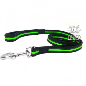 Поводок для собак нейлон с латексом (прорезиненный) Чёрно-Неоново-Зелёный 20мм*1,5-5м
