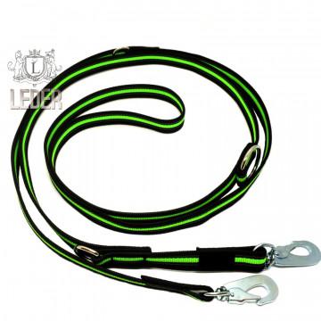 Поводок-перестёжка для собак нейлон с латексом (прорезиненный) Неон 20мм 2,7м Зелёный