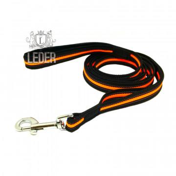 Поводок для собак нейлон с латексом (прорезиненный) Чёрно-Неоново-Оранжевый 20мм*1,5-5м