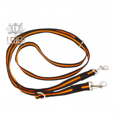 Поводок-перестёжка для собак нейлон с латексом (прорезиненный) Неон 20мм 2,7м Оранжевый