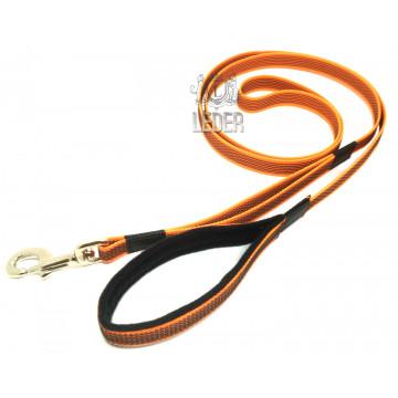 Поводок для собак нейлон с латексом (прорезиненный) Оранжевый 20мм*1,5-5м
