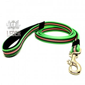 Поводок для собак нейлон с латексом (прорезиненный) Зелёно-Розовый 20мм*1-5м