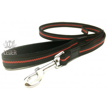 Поводок для собак нейлон с латексом (прорезиненный) Чёрно-Красный 20мм*1-10м