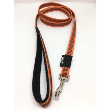 Поводок для собак нейлон с латексом (прорезиненный) ОРАНЖЕВЫЙ 15мм*1,5-5м