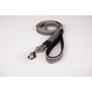 Поводок для собак нейлон с латексом (прорезиненный) Серый 20мм*1-10м