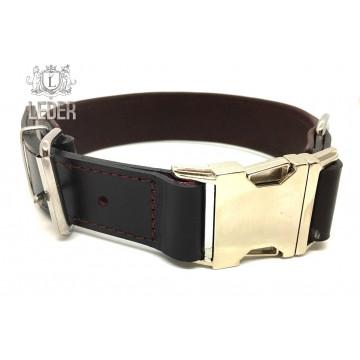 Ошейник для собак кожа с металлической пряжкой ONEGA коричнево-бордовый 30мм*55см
