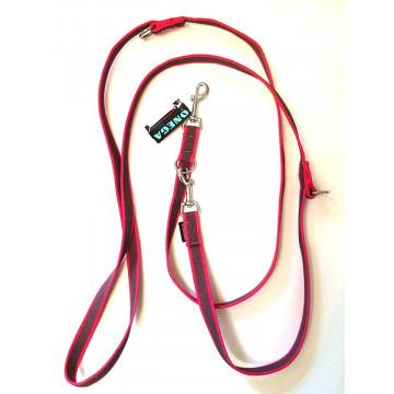 Поводок-перестёжка для собак с латексом Onega 20мм 2,5м Малиновый (прорезиненная)