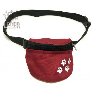 Сумочка для лакомств для собак на ремне Текстиль Бордовая