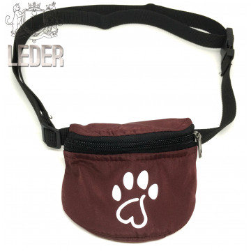 Сумочка для лакомств для собак на ремне Текстиль Тёмно-бордовая