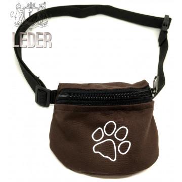 Сумочка для лакомств для собак на ремне Текстиль Коричневая