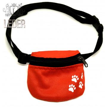 Сумочка для лакомств для собак на ремне Текстиль Красная