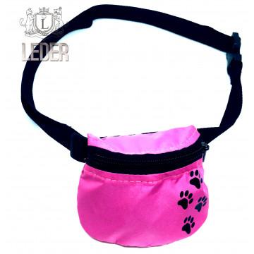 Сумочка для лакомств для собак на ремне Текстиль Розовая