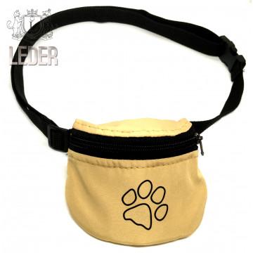 Сумочка для лакомств для собак на ремне Текстиль Бежевая