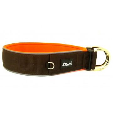 Ошейник для собак с неопреновой подкладкой 3,5см Шоколадный на оранжевом
