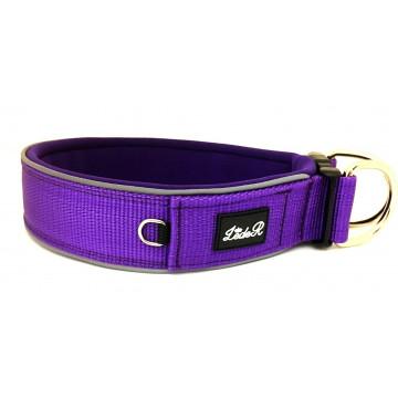 Ошейник для собак с неопреновой подкладкой Широкий- M . L . XL . Фиолетовый