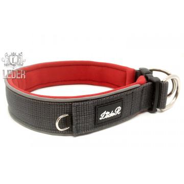 Ошейник для собак с неопреновой подкладкой 3,5см Серый на Красном