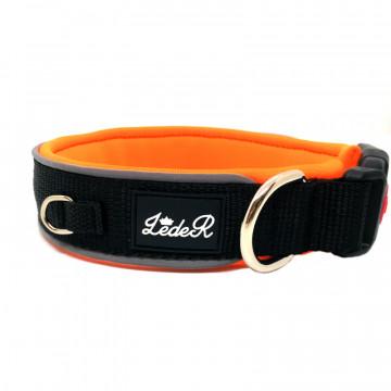 Ошейник для собак с неопреновой подкладкой 2,8см Чёрный на оранжевом