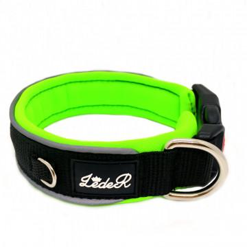 Ошейник для собак с неопреновой подкладкой 2,8см Чёрный на зелёном неоне