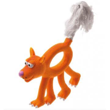 Игрушка для собак латекс Собака с канатным хвостом 12 см