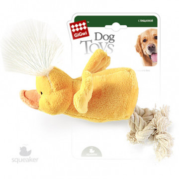 Игрушка для собак ГиГви Утка С Пищалкой и Канатами 15 см