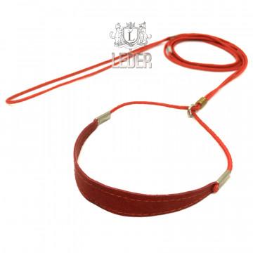 Ринговка для собак Onega Круглая с Расширителем нейлон 3мм Красная