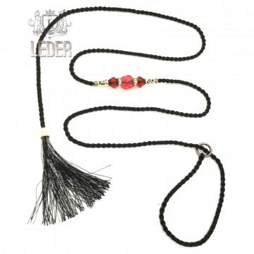 Ринговка-удавка для собак круглая шёлк с кистью и бусинами 5мм*150см цвет в ассортименте