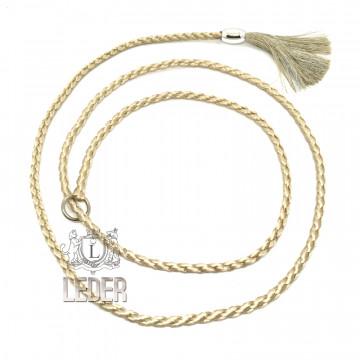 Ринговка-удавка для собак круглая шёлк с кистью 8мм*150см цвет в ассортименте