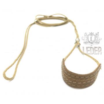 Ринговка для собак круглая нейлоновая с кожаным расширителем 3,4,5мм Бежевая