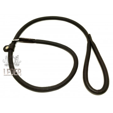 Ринговка для собак Onega круглая кожа ВЫВЕРТ 8мм*150см с одним ограничителем тёмно-коричневая