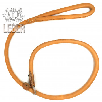 Ринговка для собак Onega круглая кожа ВЫВЕРТ 13мм*120см с одним ограничителем рыжая