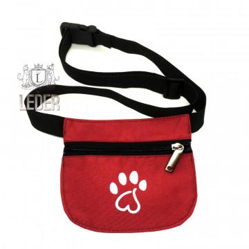 Сумочка для лакомства для собак Текстиль на молнии и поясе плоская бордовая