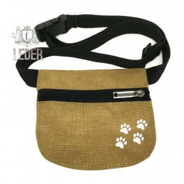 Сумочка для лакомства для собак Текстиль на молнии и поясе плоская хаки