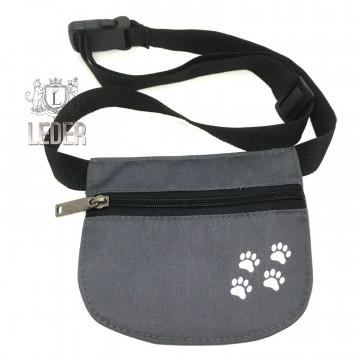 Сумочка для лакомства для собак Текстиль на молнии и поясе плоская серая