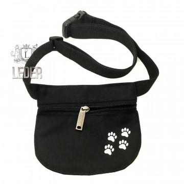 Сумочка для лакомства для собак Текстиль на молнии и поясе плоская чёрная