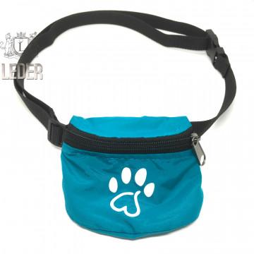 Сумочка для лакомств для собак на ремне Текстиль Бирюзовая